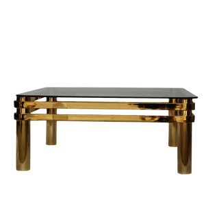 1980s Modern Square Brass Cocktail Table For Sale