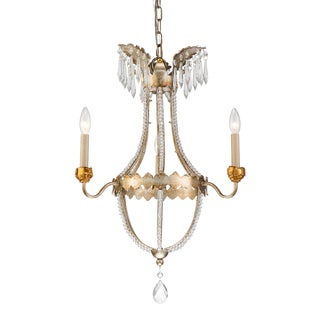 Empire 3 Light Mini Chandelier, Gold and Silver For Sale