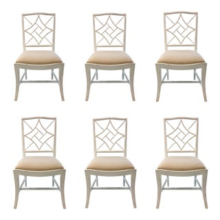 Bungalow 5 Modern White Lacquer Chinese Chippendale Style Evelyn Dining Side Chairs Set of Six For Sale