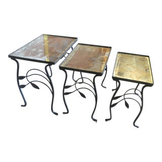 Set of 3 Salterini Wrought Iron Nesting Tables For Sale