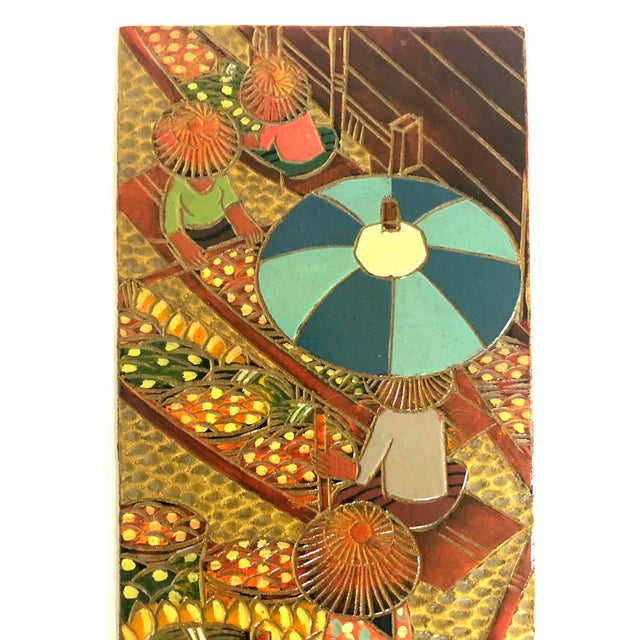 Vintage embossed and painted leather scene from Thailand of a floating market in Bangkok. The panel is signed and marked...