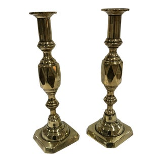 English Brass Candlesticks - a Pair For Sale