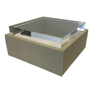 Made Goods Snow Realistic Faux Shagreen Box With Acrylic Lid For Sale