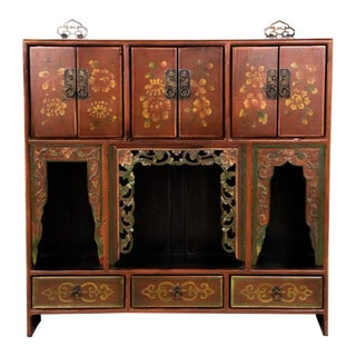 Chinese Folk Art Style Red Painted Wall Cabinet For Sale