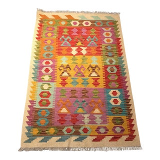 Contemporary Tribal Kilim Rug - 2′10″ × 4′6″ For Sale