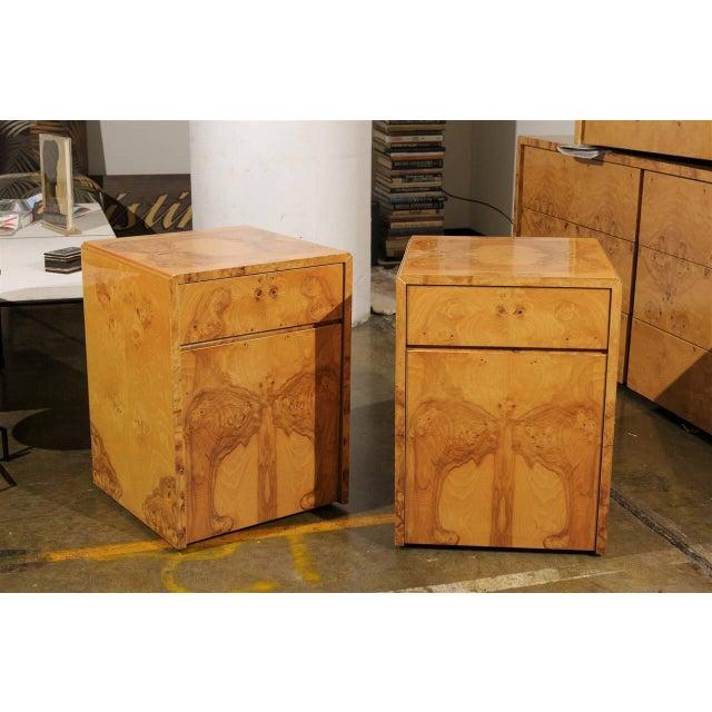 1960s Milo Baughman Style Burl Wood Suite For Sale - Image 5 of 7