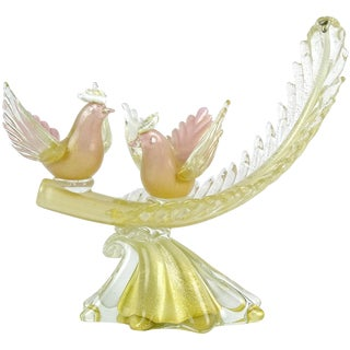 Alfredo Barbini Murano Pink Gold Flecks Italian Art Glass Birds Leaf Sculpture For Sale