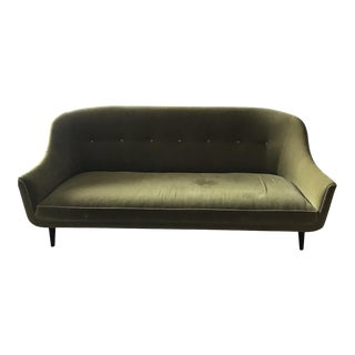 Jonathan Adler Style Green Velvet Settee/Sofa For Sale