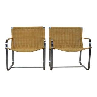 1970s Vintage Milo Baughman Rattan Chrome Lounge Chairs- A Pair For Sale
