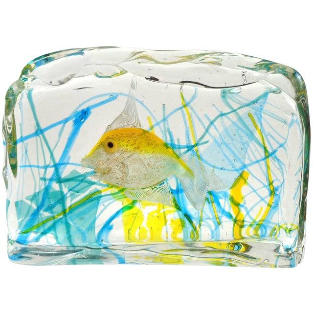 Cenedese Murano Yellow Gold Fish Italian Art Glass Aquarium Block Sculpture For Sale