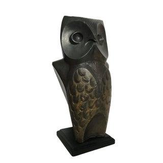 1960s Vintage Bronze Painted Plaster Sculpture of a Large Owl by Svetoslav Djalazov For Sale