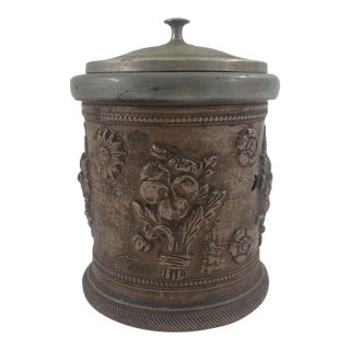 French 19th Century Tobacco Pot With Pewter Lid For Sale