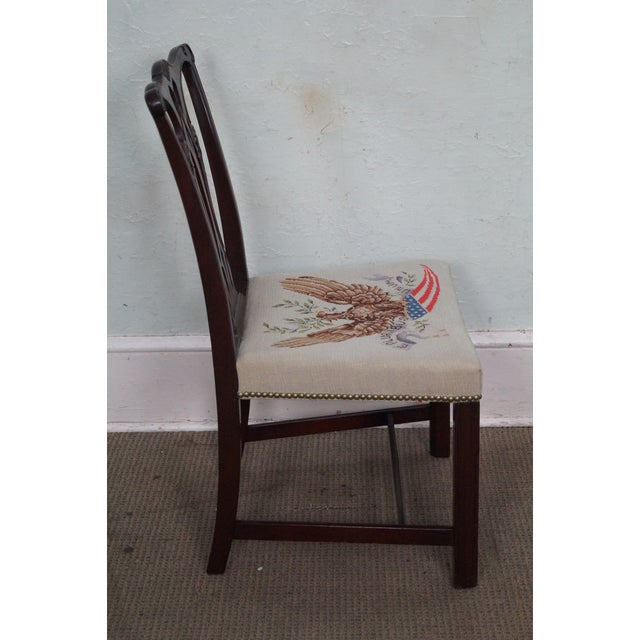 Americana Antique Chippendale Style Eagle Needlepoint Side Chair For Sale - Image 3 of 10