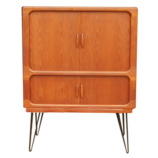 MCM Teak Cabinet With Tambour Doors by Dyrlund For Sale