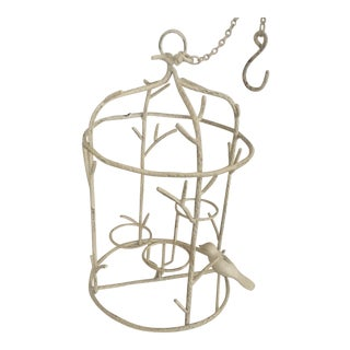 Bird Cage (Candle Votive) White Metal Hanging Lantern For Sale