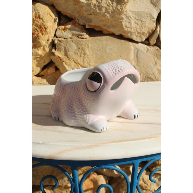 White 1970's Vintage Hobnail Frog Planter in the Style of Jean Roger For Sale - Image 8 of 13