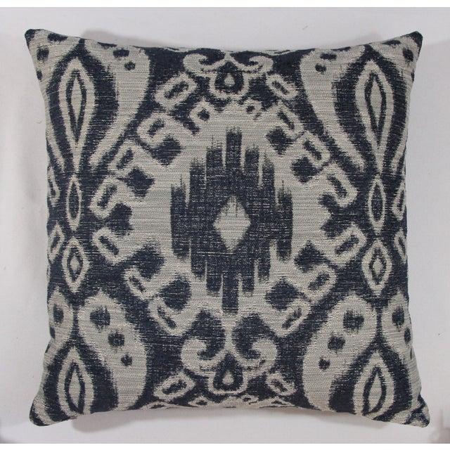 Indigo & Grey Woven Ikat Pillow - Image 2 of 4