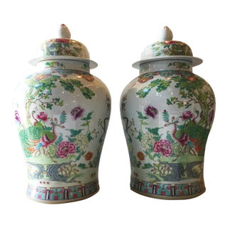 "Chinese Porcelain Famille Rose Ginger Jars - a Pair 25"" H"