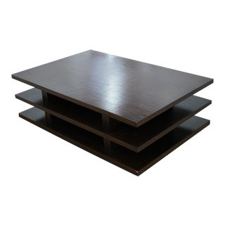 Contemporary Modern Dark Wood 3 Tiered Coffee Table For Sale