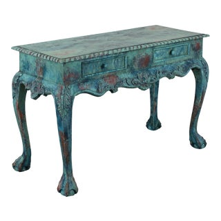Chippendale Carved Ball & Claw Foot Console Table, Hand Painted Console in a Faux Verdigris Finish For Sale