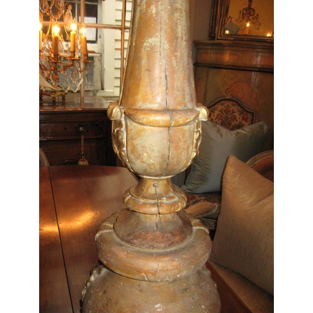 Gold 19th Century Gilt Wood Candlestick For Sale - Image 8 of 10