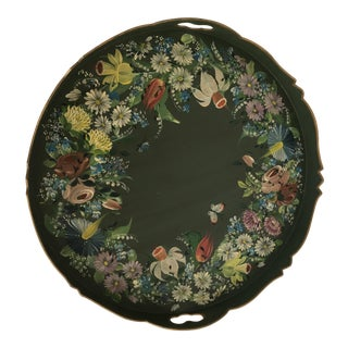 Vintage Hand Painted Tole Round Scalloped Tray