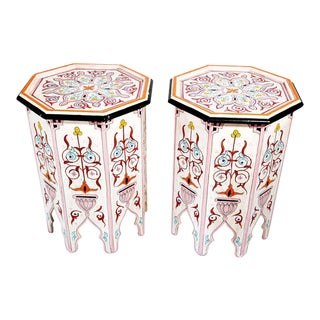 Moroccan Hand Painted Pedestal Side Tables - a Pair For Sale
