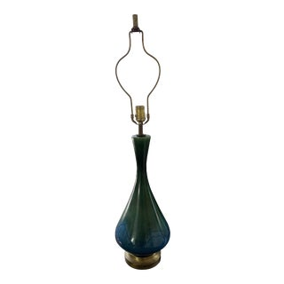 Mid Century Vintage Royal Haeger Teal Drip Glaze Pottery Lamp For Sale