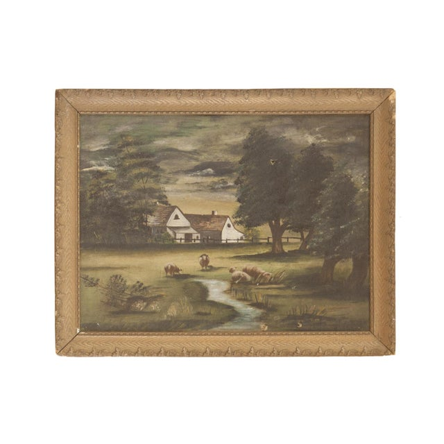 Sheep Grazing Antique Painting For Sale - Image 11 of 11