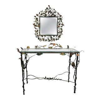 Incredible Jay Strongwater Flora and Fauna Jewel Encrusted Mirror and Console For Sale