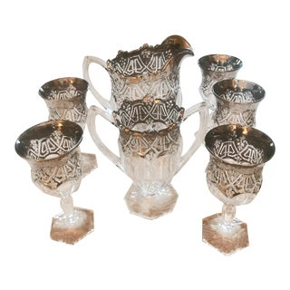 1912 Antique Us Glass Athenia Reverse 44 Pitcher, Vase & Wine Goblets - Set of 7 For Sale