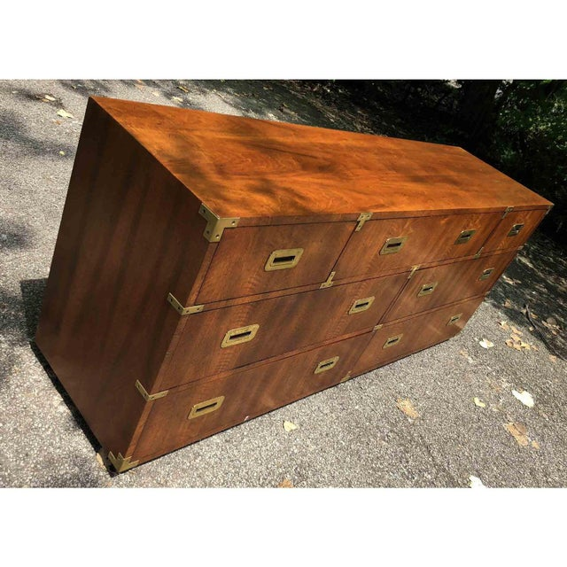 Metal 1970s Campaign 7 Drawer Credenza or Dresser by Henredon For Sale - Image 7 of 13
