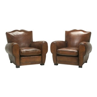"""Pair of French """"Moustache"""" Style Leather Club Chairs, Correctly Restored"""