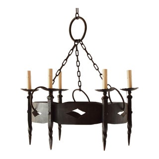 Round Iron Rustic Chandelier For Sale