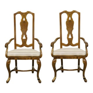 Late 20th Century Drexel Heritage Sketchbook Collection French Stenciled Arm Dining Chairs- A Pair For Sale