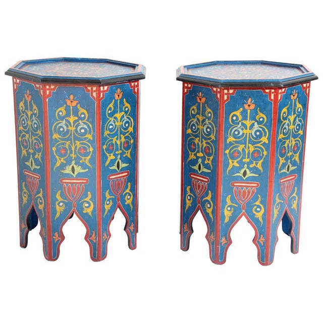 Hand Painted Blue Moroccan Pedestal Tables - a Pair For Sale - Image 13 of 13