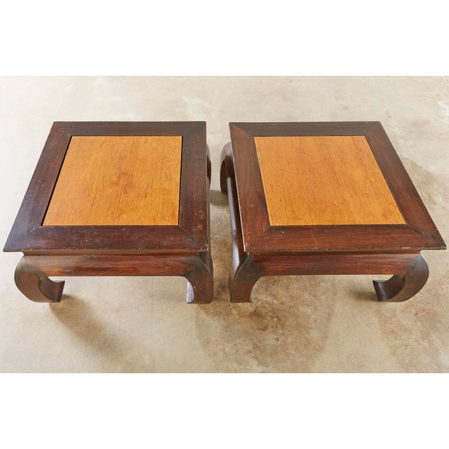 Wonderful substantial pair of mixed woods low Chinese style stands. Beautifully made, with contrasting woods. These have...