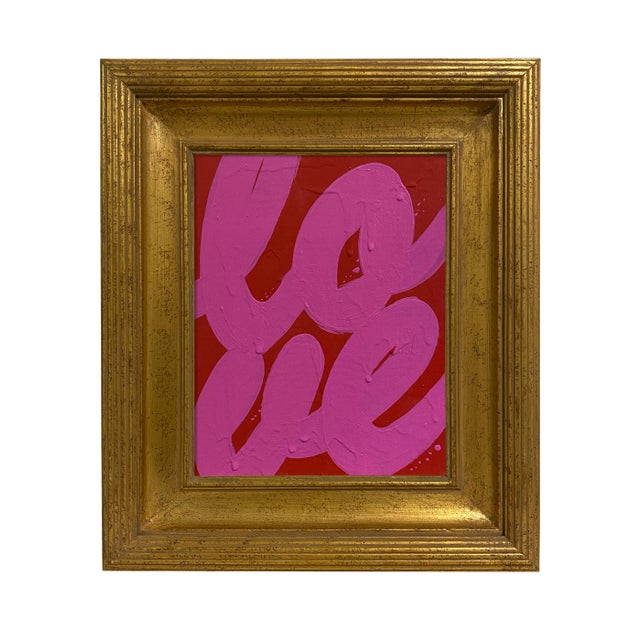 Ron Giusti Mini Love Red Hot Pink Painting, Framed For Sale - Image 4 of 4
