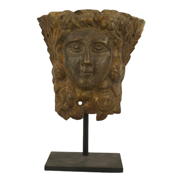 19th C. Italian Neoclassical Mounted Bronze Relief Masks For Sale