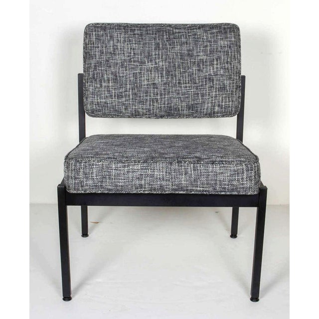 Florence Knoll Mid-Century Modern Industrial Tweed Chair in the Style of Knoll For Sale - Image 4 of 10