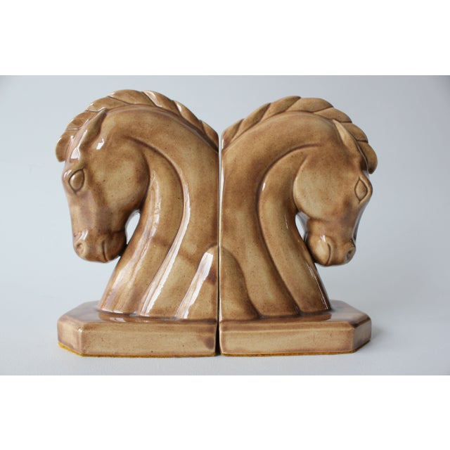 Caramel Ceramic Horse Head Bookends - A Pair - Image 2 of 6