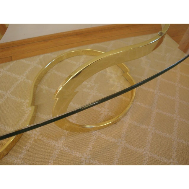 Brass Ribbon and Glass Coffee Table after Milo Baughman For Sale In Richmond - Image 6 of 9