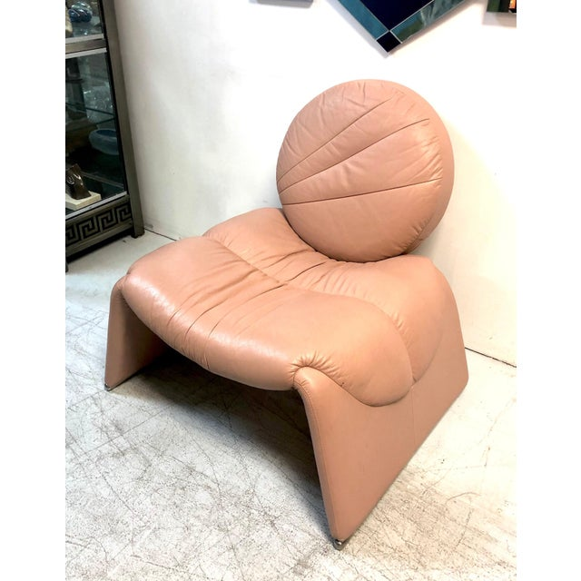 Postmodern Pink Leather Lounge Chair, 1980s For Sale In Miami - Image 6 of 8