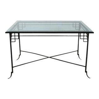Las Palmas Collection Imperial Palace Wrought Iron & Glass Japanese Tea Table For Sale
