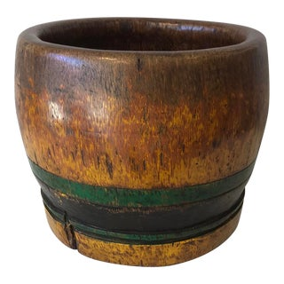 Rustic Palm Wood Drum Bowl For Sale