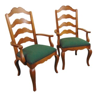 Ethan Allen Legacy Maple Ladderback Arm Chairs- a Pair For Sale