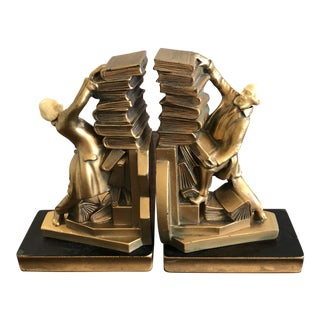 20th Century English Traditional Struggling Librarian With Falling Books Bookends - a Pair