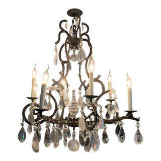 Large Wrought Iron and Crystal Adorned Chandelier For Sale