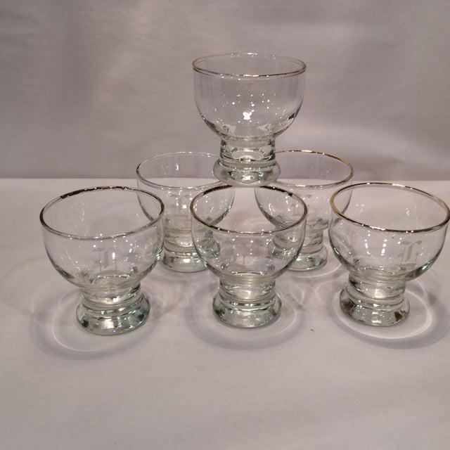 """Vintage """"L """" Monogrammed Crystal Aperitif Glasses - Set of 6 - Image 6 of 11"""