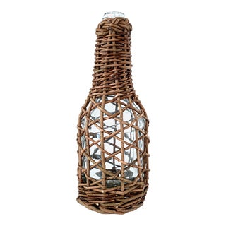 1970's Vintage Wicker Wrapped Glass Bottle For Sale